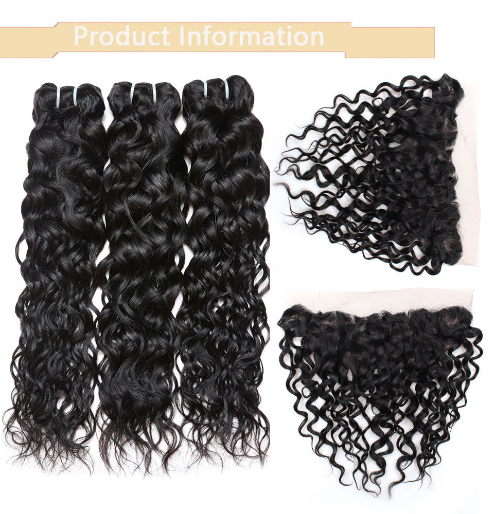 Cameraing Indian Human Virgin Hair Water Wave Hair 3 Bundles with Ear to Ear Lace Frontal 7