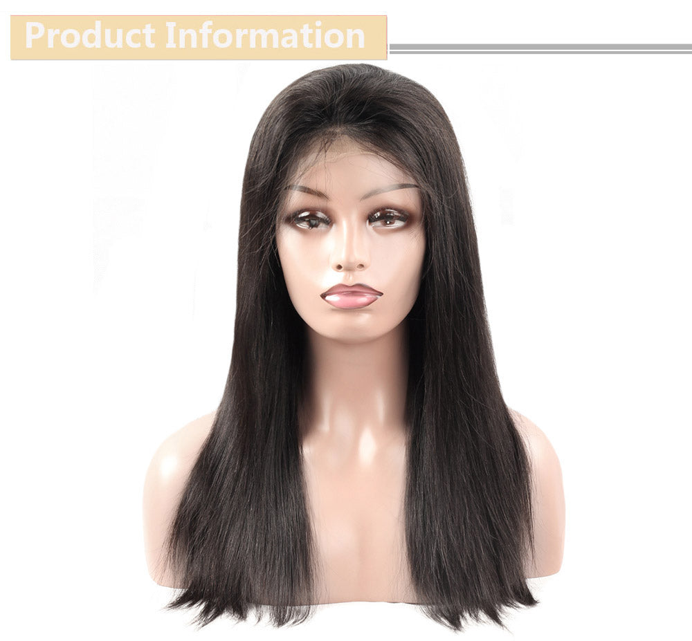 Cameraing Brazilian Human Virgin Hair Pre-Plucked Straight Lace Frontal Wig 7