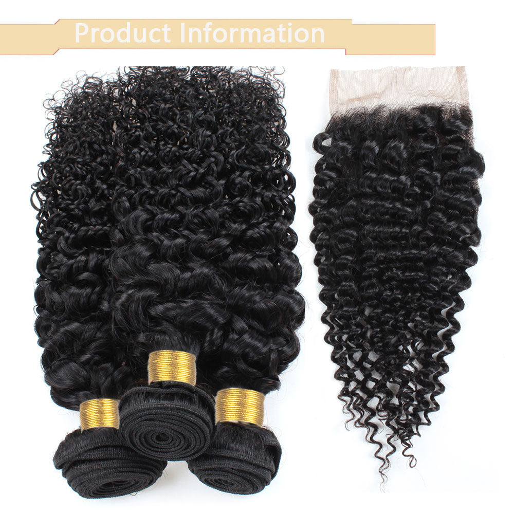 Cameraing Indian Human Virgin Hair Kinky Curly weft with closure 3 Bundles with 4*4 lace closure 8
