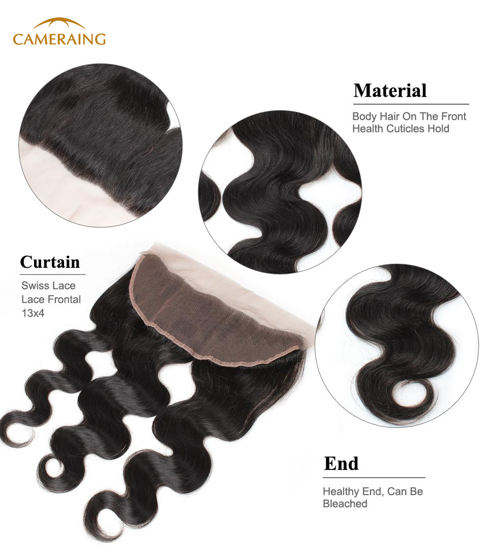 Cameraing Brazilian Human Virgin Hair Body Wave Hair 3 Bundles with Ear to Ear Lace Frontal 11