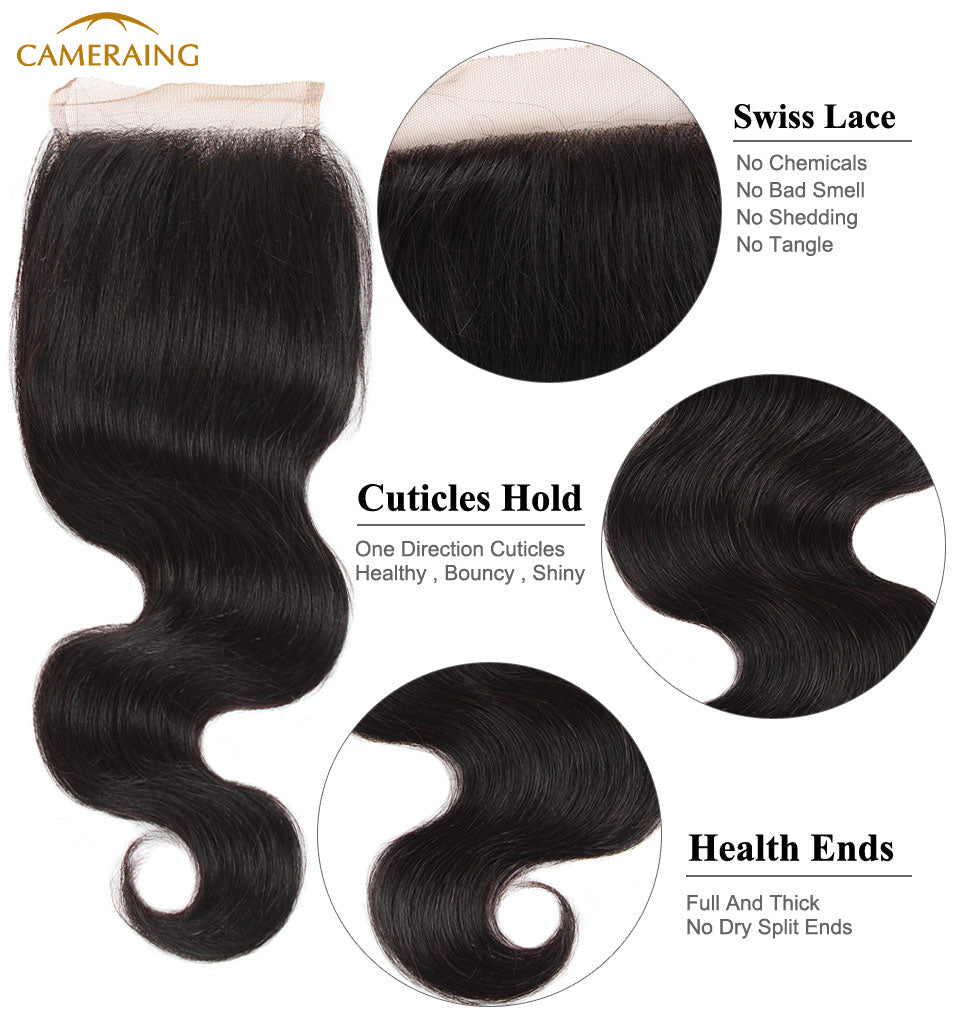 Cameraing Brazilian Human Virgin Hair Body Wave Hair 4 Bundles with 4*4 Lace Closure 11