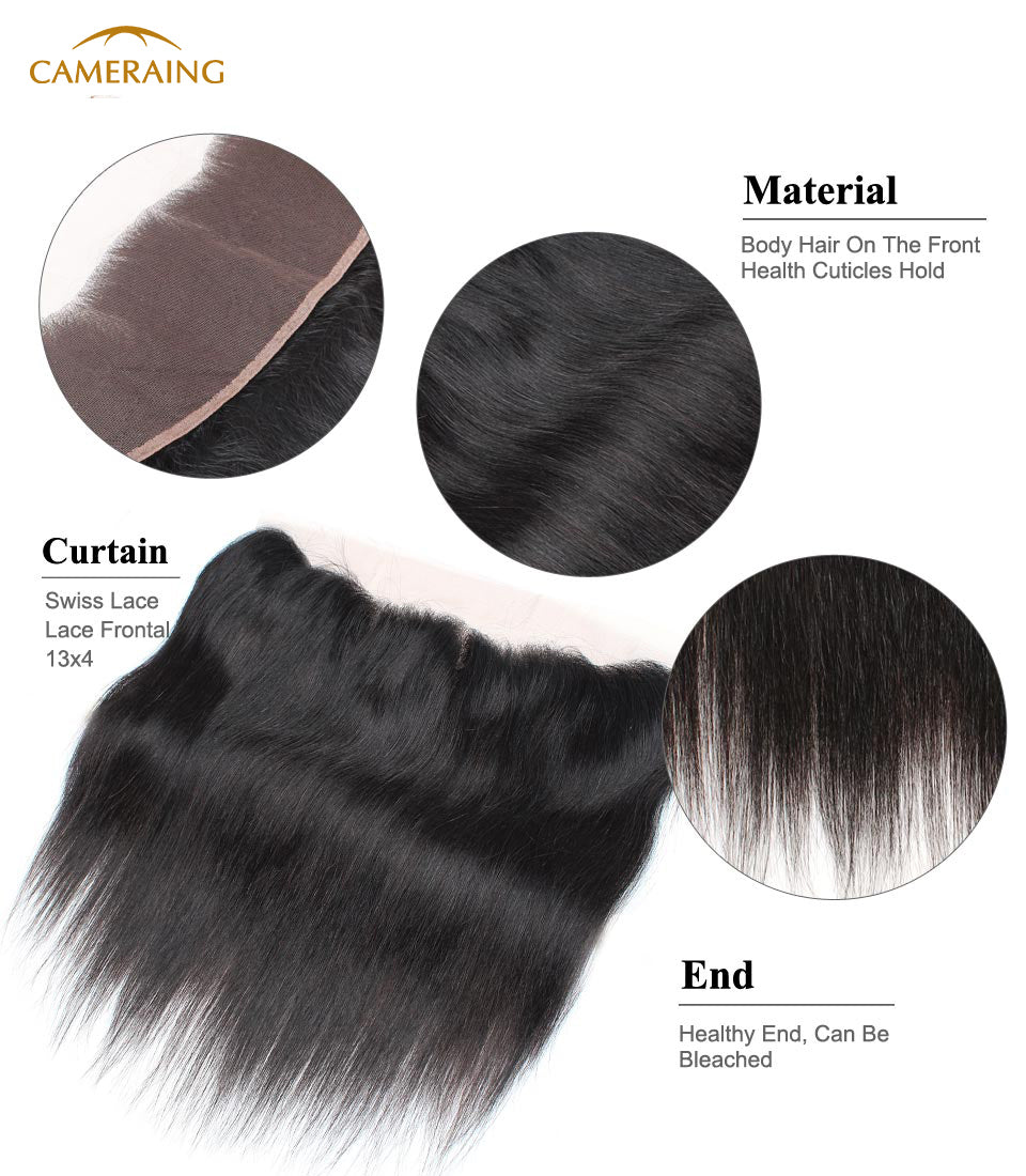 Cameraing Indian Human Virgin Hair Straight Hair 3 Bundles with Ear to Ear Lace Frontal 9