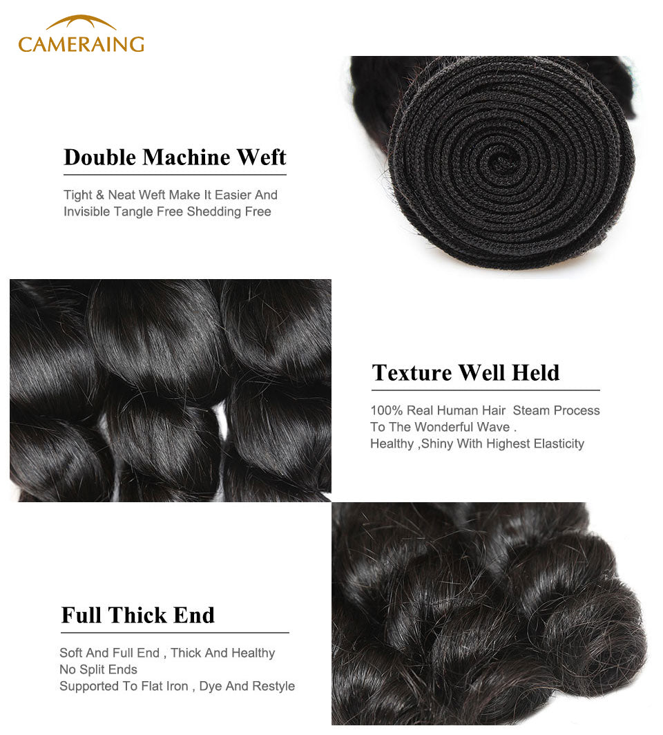 Cameraing Brazilian Human Virgin Hair Loose Wave 4 Bundles 7