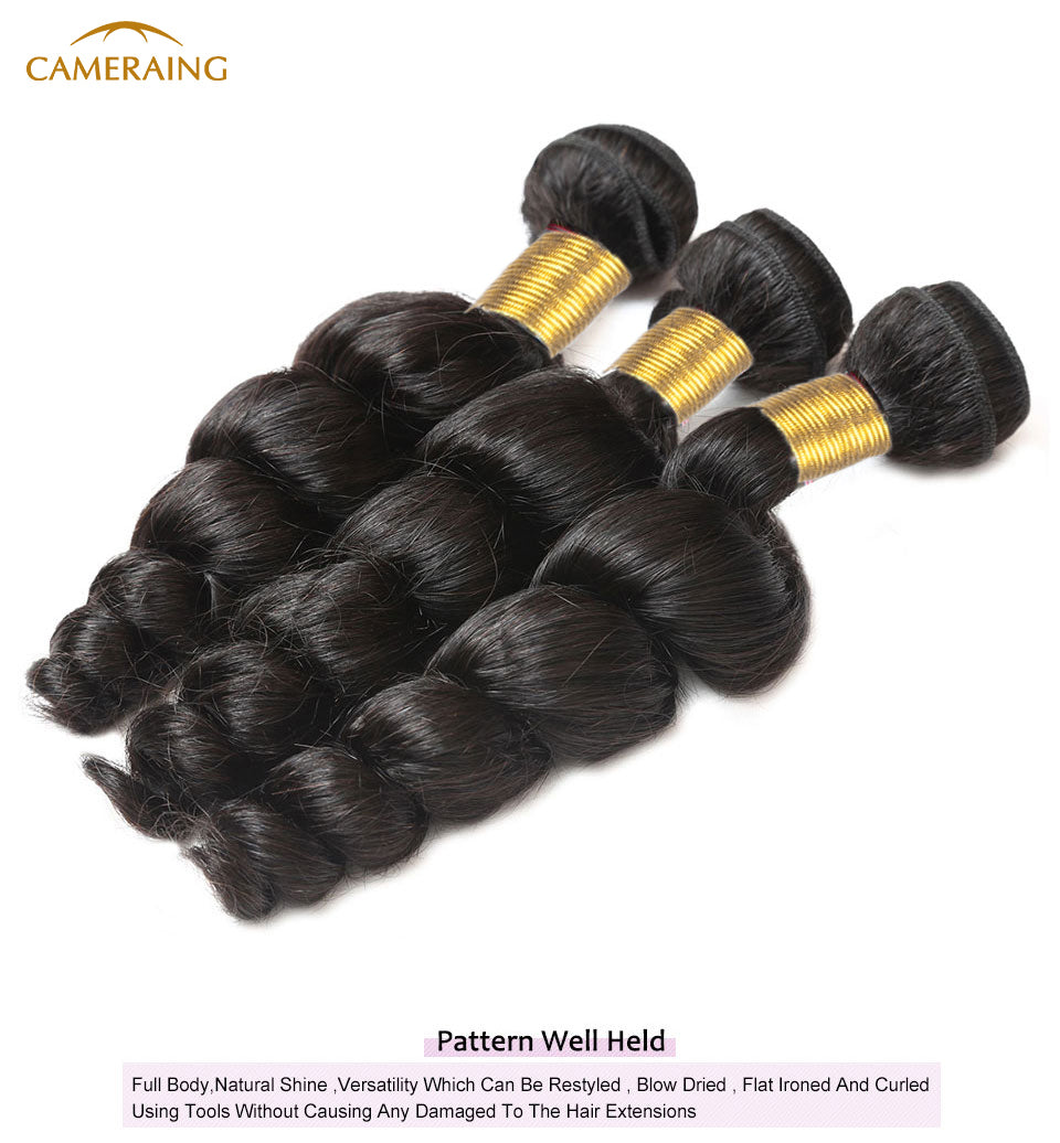 Cameraing Brazilian Human Virgin Hair Loose Wave 4 Bundles 8