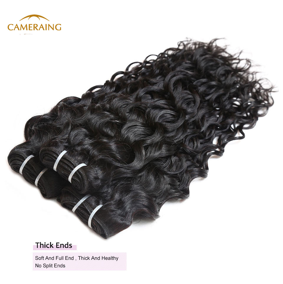 Cameraing Indian Human Virgin Hair Water Wave Hair 3 Bundles with Ear to Ear Lace Frontal 9