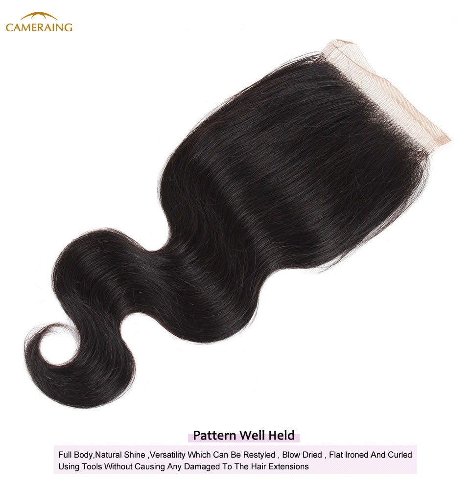 Cameraing Brazilian Human Virgin Hair Body Wave Hair 4 Bundles with 4*4 Lace Closure 12