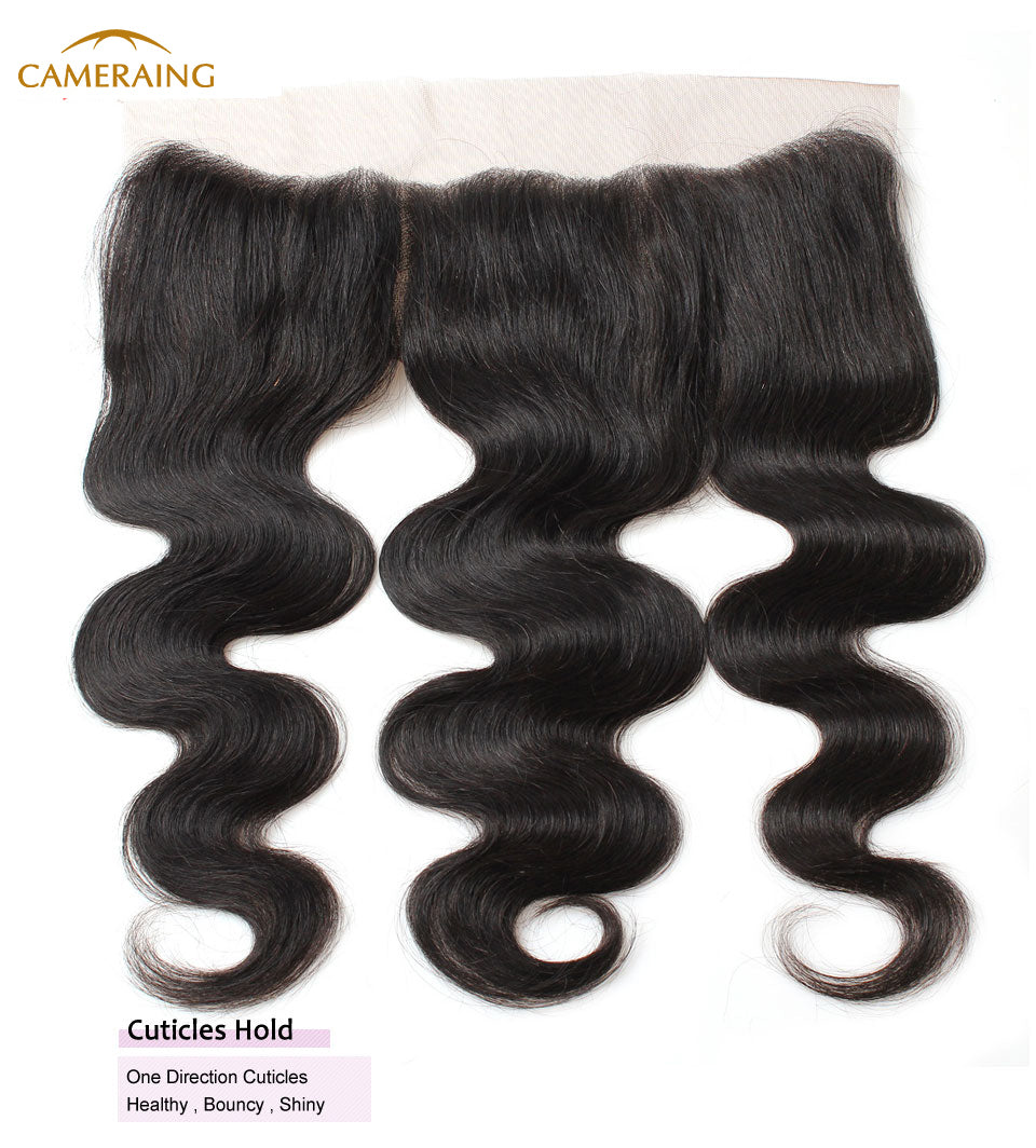 Cameraing Brazilian Human Virgin Hair Body Wave Hair 3 Bundles with Ear to Ear Lace Frontal 13