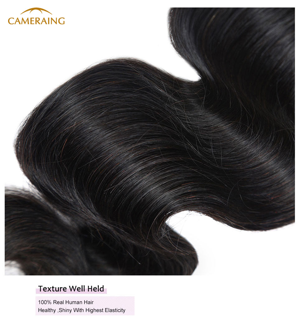 Cameraing Brazilian Human Virgin Hair Body Wave Hair 3 Bundles with Ear to Ear Lace Frontal 14