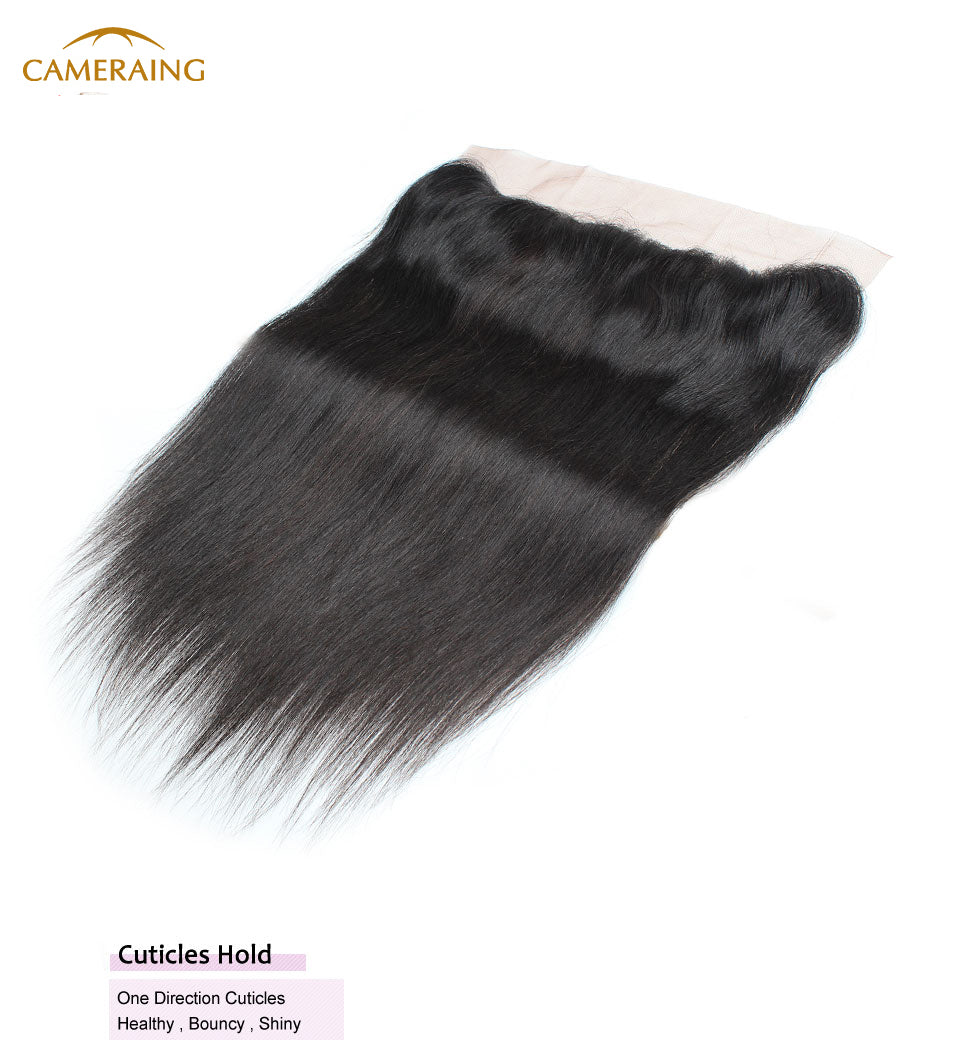 Cameraing Indian Human Virgin Hair Straight Hair 3 Bundles with Ear to Ear Lace Frontal 10