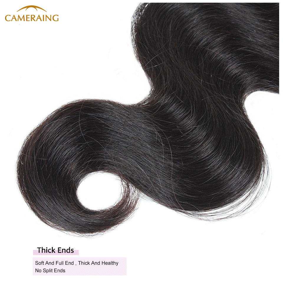 Cameraing Brazilian Human Virgin Hair Body Wave Hair 3 Bundles with Ear to Ear Lace Frontal 15