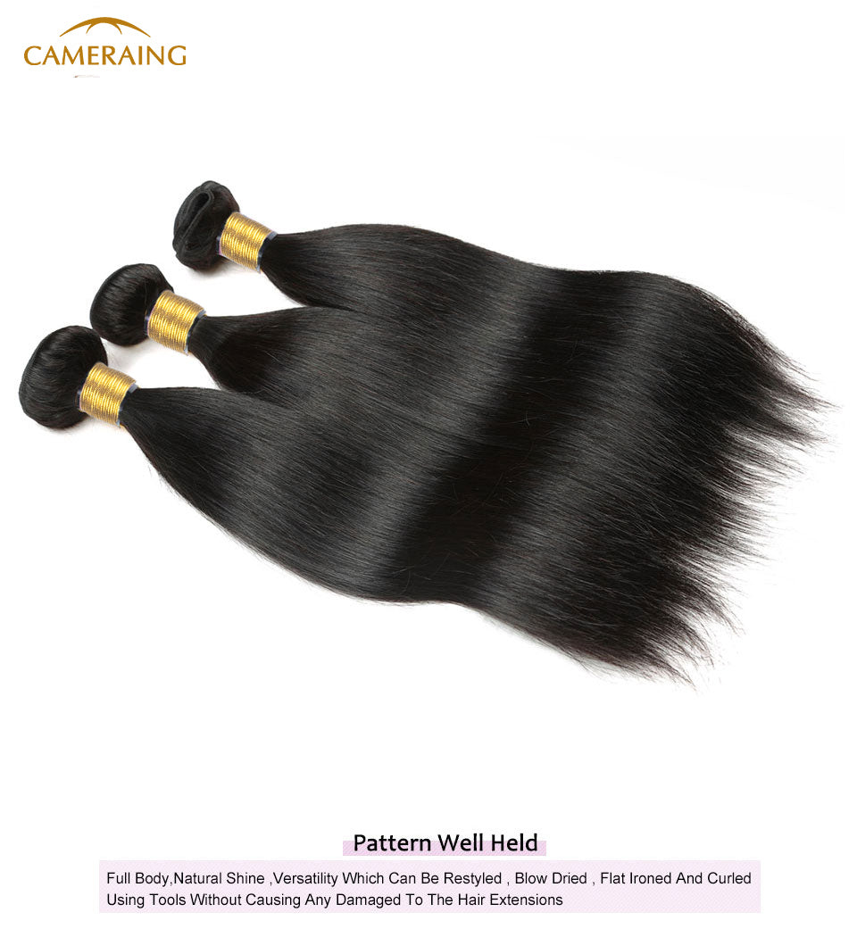 Cameraing Indian Human Virgin Hair Straight Hair 3 Bundles with Ear to Ear Lace Frontal 11