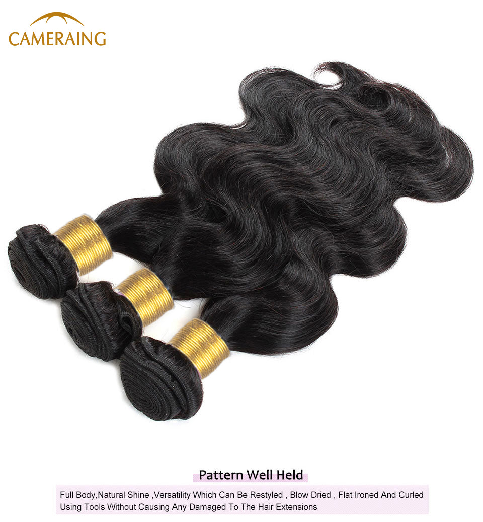 Cameraing Brazilian Human Virgin Hair Body Wave Hair 4 Bundles with 4*4 Lace Closure  15