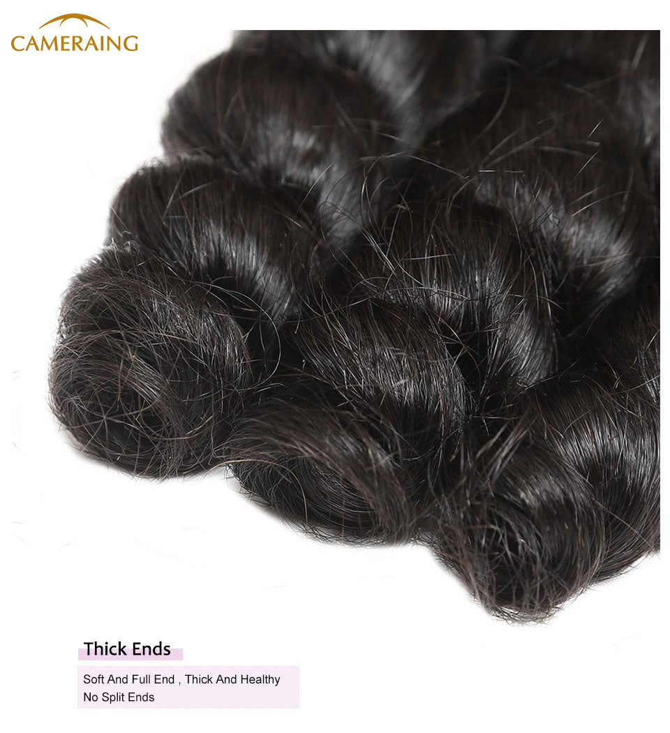 Cameraing Brazilian Human Virgin Hair Loose Wave weft with closure 3 Bundles with 4*4 lace closure 12