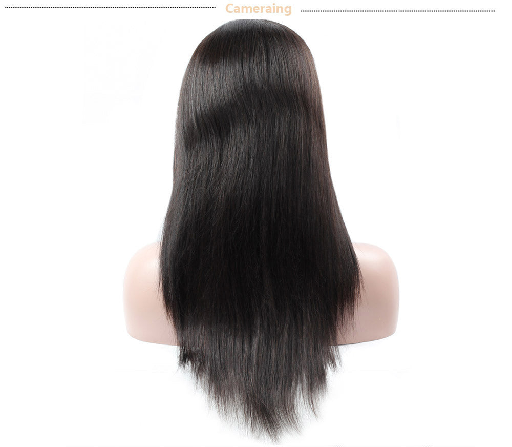 Cameraing Brazilian Human Virgin Hair Pre-Plucked Straight Lace Frontal Wig 12