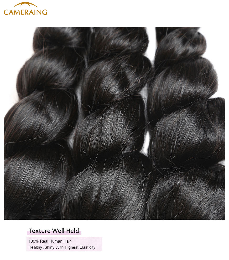 Cameraing Brazilian Human Virgin Hair Loose Wave weft with closure 3 Bundles with 4*4 lace closure 13