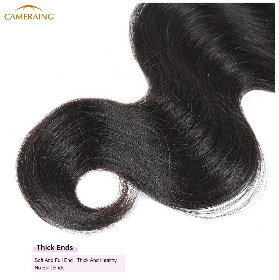 Cameraing Brazilian Human Virgin Hair Body Wave Hair 4 Bundles with 4*4 Lace Closure 17