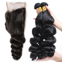 Cameraing Brazilian Human Virgin Hair Loose Wave weft with closure 3 Bundles with 4*4 lace closure 2