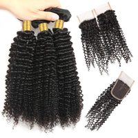 Cameraing Indian Human Virgin Hair Kinky Curly weft with closure 3 Bundles with 4*4 lace closure 3