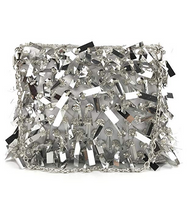 Goldina Fashion Silver Glitter Bag Handmade Beaded Handbag Party Evening Clutch Shoulder Bag for Women