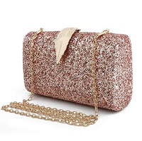 Goldina Sparkling Clutch Purse Glitter Evening Bags Evening Handbag for Wedding Party Prom Bride with Feather Closure