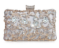 GESU Womens Crystal Evening Clutch Bag Wedding Purse Bridal Prom Handbag Party Bag. (Silver-1)