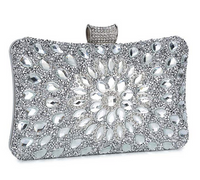 Clocolor Evening Bags and Clutches for Women Crystal Clutch Beaded Rhinestone Purse Wedding Party Handbag (Silver)