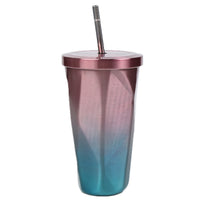Zerolism Stainless Steel Tumbler with Straw, Gradient Color Hot and Cold Double Wall Drinking Cups Coffee Travel Mug 16oz/473 ML Irregular Diamond with Lid