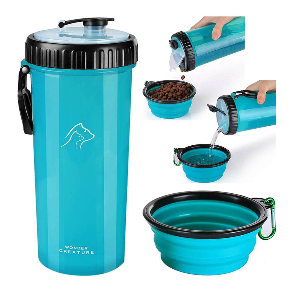 Dog Food and Water Bottle 2 in 1 Dual Chambers Portable Bottle with Collapsible Bowl - glabal-scm