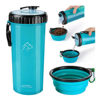 Dog Food and Water Bottle 2 in 1 Dual Chambers Portable Bottle with Collapsible Bowl