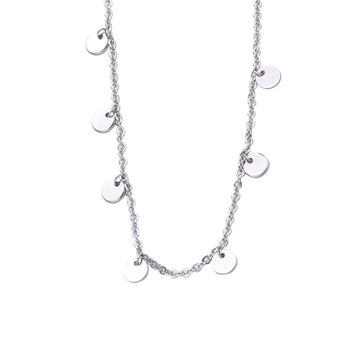 Disc Pendant Necklace Layered Stainless Steel Chain Choker in Silver for Women Girls