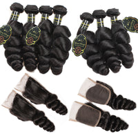 Queen Berry Brazilian Loose Wave Hair 3 Bundles With 4x4 Lace Closure - Ms Virgin Hair