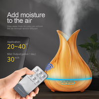400ml Aroma Essential Oil Diffuser Ultrasonic Air Humidifier with Wood Grain 7 Color Changing LED Lights for Office Home - glabal-scm