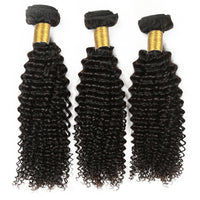 Cameraing Indian Human Virgin Hair Kinky Curly weft with closure 3 Bundles with 4*4 lace closure 5