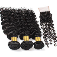 Cameraing Indian Human Virgin Hair Kinky Curly weft with closure 3 Bundles with 4*4 lace closure 2