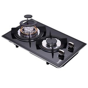 DeliKit DK123-B01S 12 inch gas cooktop gas hob 2 Burners LPG/NG Dual Fuel 2 Sealed Burners brass burne rKitchen Slope Edge Tempered Glass Built-in gas Cooktop 110V AC pulse ignition - Ms Virgin Hair