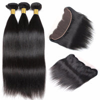 Cameraing Indian Human Virgin Hair Straight Hair 3 Bundles with Ear to Ear Lace Frontal 3