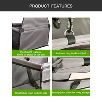 Dog Car Seat, Pet Car Seat for Small Dogs and Cats, Dog Booster Seat with Sturdy PVC Support Rails and Stronger PE Board to Prevent Collapsing, Safety Collar Buckle Collapsible Car Seat - glabal-scm