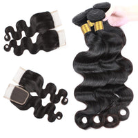 Cameraing Brazilian Human Virgin Hair Body Wave Hair 4 Bundles with 4*4 Lace Closure 3