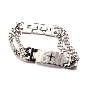 Men's Stainless Steel Bracelet – Interlocking Steel Panel Design with Cross in a Polished Silver Finish