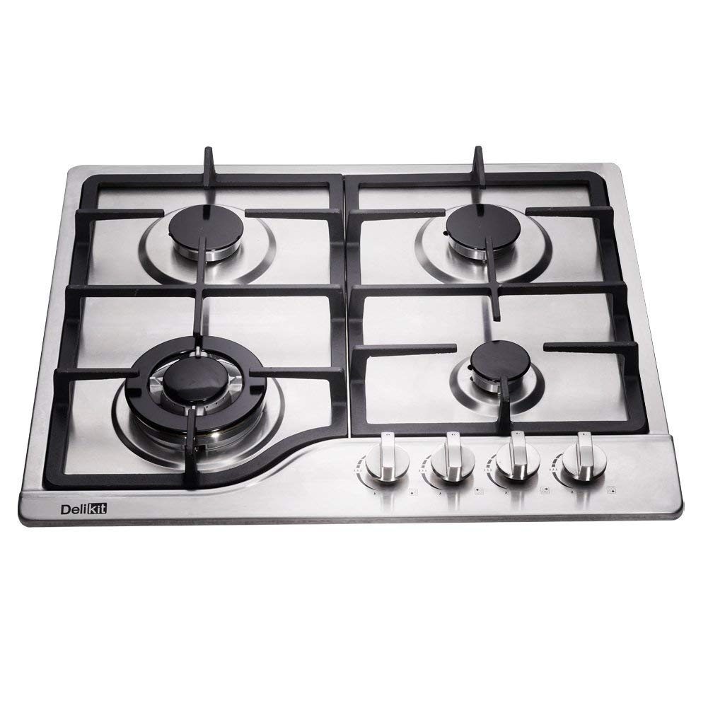 DeliKit DK245-B02 24 inch gas cooktop gas hob 4 burners LPG/NG Dual Fuel 4 Sealed Burners brass burner Stainless Steel Built-In gas hob 110V AC pulse ignition gas cooktop gas stove - Ms Virgin Hair