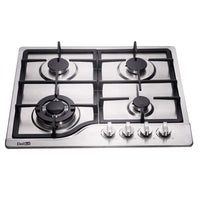 DeliKit DK245-B02 24 inch gas cooktop gas hob 4 burners LPG/NG Dual Fuel 4 Sealed Burners brass burner Stainless Steel Built-In gas hob 110V AC pulse ignition gas cooktop gas stove