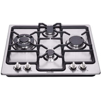 DeliKit DK245-A04 24 inch gas cooktop gas hob 4 burners LPG/NG Dual Fuel 4 Sealed Burners Stainless Steel Built-In gas hob 110V AC pulse ignition gas cooktop gas stove