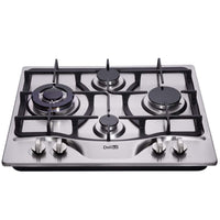 DeliKit DK245-B03 24 inch LPG/NG gas cooktop gas hob 4 Burners Dual Fuel 4 Sealed Burners brass burner Stainless Steel gas cooktop 4 burners Built-In gas hob 110V AC pulse ignition gas stove