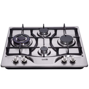 DeliKit DK245-B03 24 inch LPG/NG gas cooktop gas hob 4 Burners Dual Fuel 4 Sealed Burners brass burner Stainless Steel gas cooktop 4 burners Built-In gas hob 110V AC pulse ignition gas stove - Ms Virgin Hair