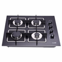 DeliKit DK145-A02S 24 inch gas cooktop gas hob 4 Burners LPG/NG Dual Fuel 4 Sealed Burners Kitchen Tempered Glass Built-in gas Cooktop 110V AC pulse ignition
