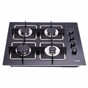 DeliKit DK145-A02S 24 inch gas cooktop gas hob 4 Burners LPG/NG Dual Fuel 4 Sealed Burners Kitchen Tempered Glass Built-in gas Cooktop 110V AC pulse ignition - Ms Virgin Hair