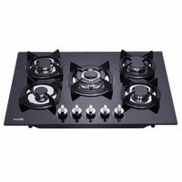 DeliKit DK156-A01 27.5 inch gas cooktop gas hob 4 Burners LPG/NG Dual Fuel 5 Sealed Burners Kitchen Slope Edge Tempered Glass Built-in Gas Hob gas Cooktop 110V AC pulse ignition by DeliKit