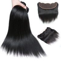 Cameraing Indian Human Virgin Hair Straight Hair 3 Bundles with Ear to Ear Lace Frontal 4
