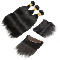 Cameraing Indian Human Virgin Hair Straight Hair 3 Bundles with Ear to Ear Lace Frontal 2