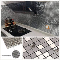 "HomeyStyle 12""x12"" Glass Mixed Peel and Stick Tile Backsplash for Kitchen Bathroom Stove Walls Self-Adhesive Aluminum Surface Metal Mosaic Tiles 3D Wall Sticker 5 pack"